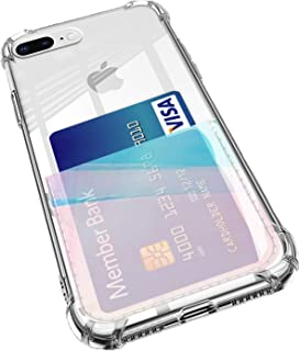 ANHONG iPhone 7 Plus / 8 Plus Clear Case with Card Holder, [Slim Fit] Protective Soft TPU Shockproof Case with Hologram Clear Card Slot (2018) (Hologram Blue)
