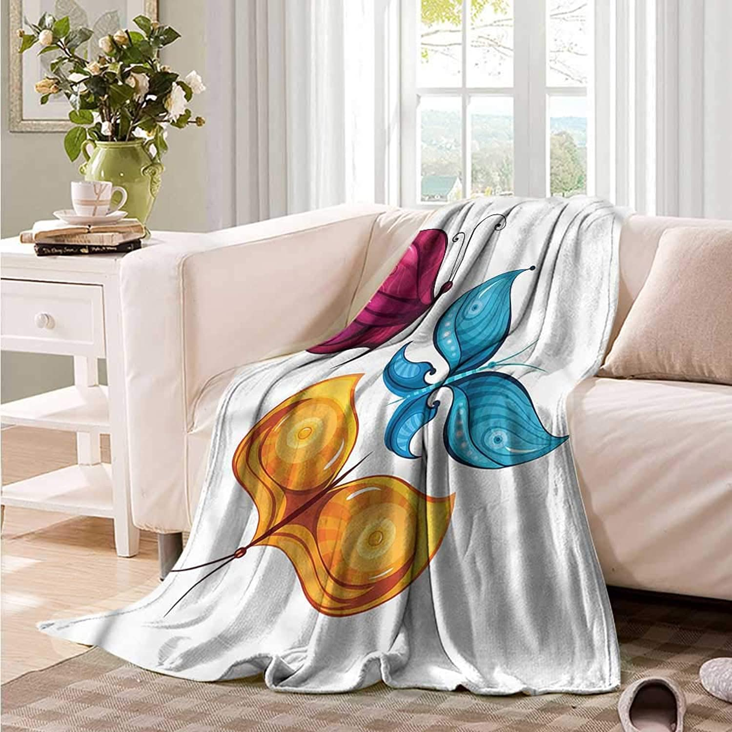 Oncegod Super Soft Blanket Butterfly Swallow Tail Wings Summer Blanket on Bed Sofa Bedding 60  W x 51  L