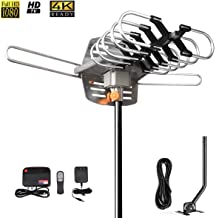 HDTV Antenna Amplified Digital Outdoor TV Antenna 150 Miles Range with Mounting Pole-4K 1080p High Reception for All TVs-32ft RG6 Coaxial Cable,360° Rotation Wireless Remote(Support 2 TVs)