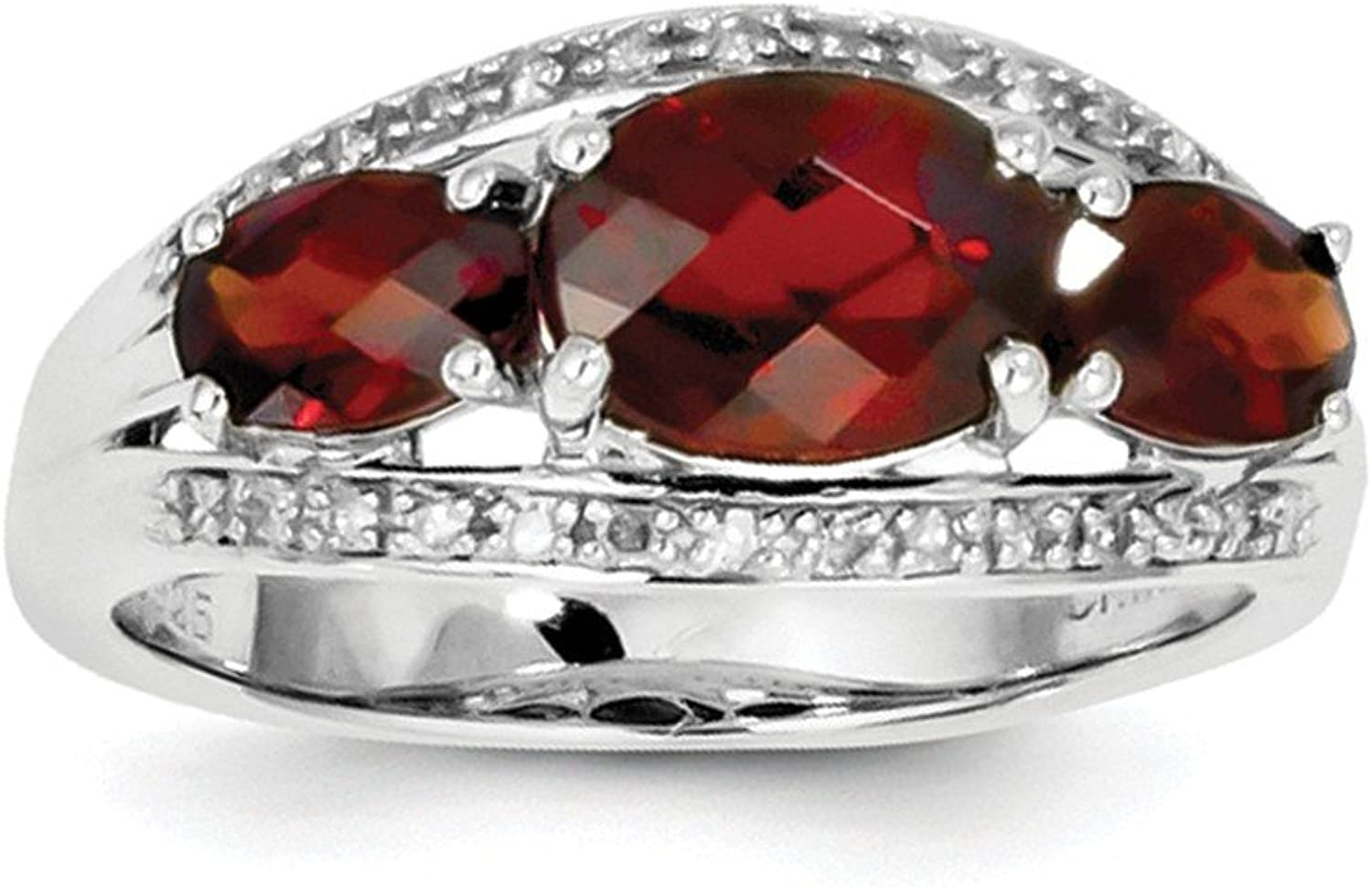 925 Sterling Silver Garnet and Diamond Accent 3 Stone Engagement Ring Size (2.72ct)