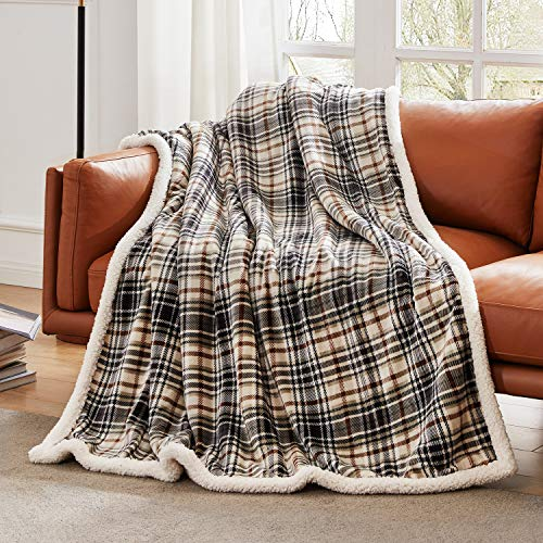 Touchat Sherpa Plaid Throw Blanket, Fuzzy Fluffy Cozy Soft Blanket, Fleece Flannel Plush Twin Size Microfiber Blanket for Couch Bed Sofa (60' X 70', Plaid Brown)