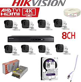 HIKVISION 4K Full HD 5MP CCTV Combo with 8 Bullet Cameras , 8CH DVR , 2TB Hard DISC CCTV Wire Bundle 8CH Power Supply and All Required Accessories by TECHNOCAM