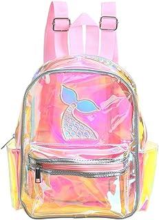 Mochilas holográficas de verano Bolsa transparente Bolso de hombro a prueba de agua con láser para niña (rosa claro)