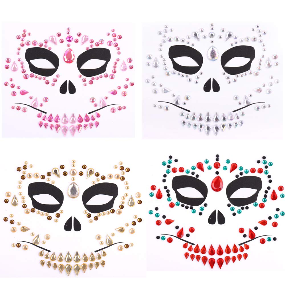 Import 4 Pack Sales of SALE items from new works Day Of The Dead Skull Rhinestone Fa Temporary Face Tattoo