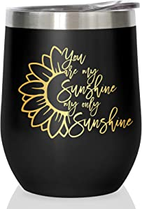 Kingsleyton Sunflower Gifts gifts for women - You Are My Sunshine - 12 oz Stainless Steel Travel Tumbler/Mug w Lid Sunflowers Decor Wine Glass Coffee Cup BFF Sister gift Tumblers