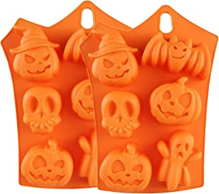 StyleZ 2 Pcs Halloween Pumpkin Molds 6-Cavity Silicone Bat Pumpkin Face Skull Ghost Jelly Chocolate Ice Cube Trays Candy Bread Soap Muffin Baking Cake Mold Decorations