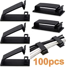 Benavvy 100pcs Cable Clips, Ethernet Cable Organizer, Adhesive Wire Clamps, Desktop Cord Management, for Wire Management and Cable Runs (Black)