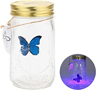 Airlxf Butterfly in a Jar, Glass Animated Butterfly in A Jar with LED Light Gift Decoration (Blue)