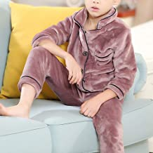 GWDJ Pajamas, Winter Child Thicken Comfortable Skin-friendly Pajamas Long Sleeve Keep Warm Soft Casual Clothing Simple Loose Boy Home Clothing Set ( color : Bean paste color-boy , Size : 130cm )