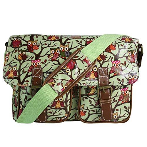 Miss Lulu, Damen-Handtasche aus Wachstuch mit floralem Eulenmuster und Schultergurt Mehrfarbig L1107w Verde M