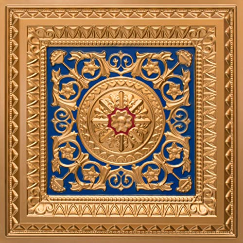 Venice #223 PVC Decorative Ceiling Tile Panel 2ftx2ft Glue Up/Grid (Pack of 12 - Approx. 48 sq. ft.) (Gold/Blue/Red)