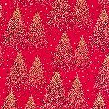 Baumwollstoff Popeline Tannenbäume rot - Preis gilt für