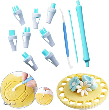 12 Pieces Lace Tweezers Clips, Food Grade Plastic Cookie Stamp Mold Cake Cupcake Fondant Decorating Tool