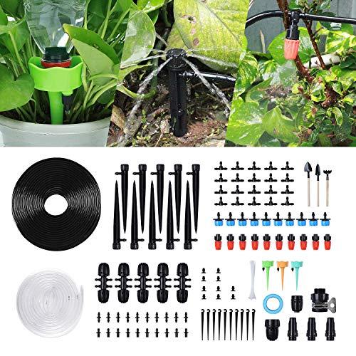 STLOVE Kit d'irrigation 149 pièces Micro systèmes d'arrosage pour plantes Arroseur goutte à goutte pour l'humidification du jardin, de la pelouse, de l'extérieur, refroidissement par atomisation 30 m