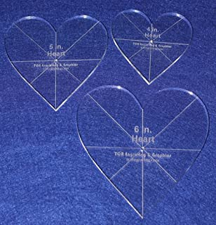Heart Template 3 Piece Set. 4 Inch,5 Inch,6 Inch - Clear 1/4 Inch Thick w/guidelines