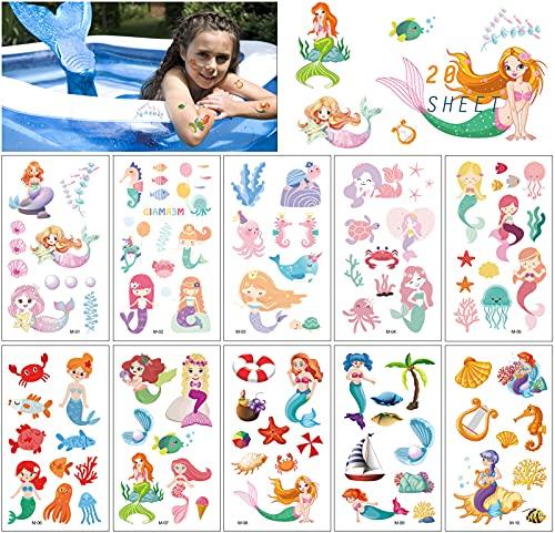 20 Hojas Sirena Tatuajes Temporales Pegatinas para Nios Nias Sirena Dibujos Animados Impermeables Falso Tatuajes Temporales Calcomanias para Nios Infantiles Regalo de Fiesta de Cumpleaos