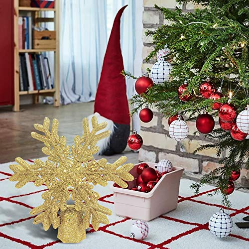 Demana Christmas tree topper light with LED rotating snowflake projector, silver 3D glitter illuminated snow tree topper for Christmas tree decorations (Gold)