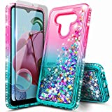 NZND Case for LG G6, LG G6 Plus (2017 Release) with Tempered Glass Screen Protector, Sparkle Glitter Flowing Liquid Quicksand with Shiny Bling Diamond, Women Girls Cute Phone Case Cover (Pink/Aqua)