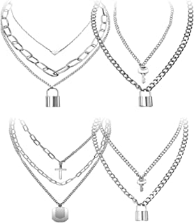 N/Q 2-4Pcs Punk Rock Layered Chunky Chain Lock Key Long Pendant Necklace for Women Men Egirl Eboy Multilayer 14K Silver Pl...