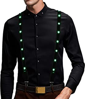 LED Light Up Glow Suspenders USB rechargeable and 7 Color Optional -Bulb Pattern