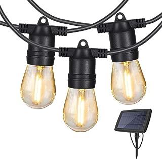 Torjim Solar String Lights - 48 Ft Heavy Duty Patio Waterproof LED Outdoor String Lights, 15 Hanging Sockets, Shatterproof, 16 Edison Bulbs for Backyard Porch Cafe Garden…