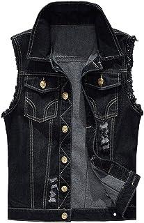 Kelmon Men's Sleeveless Lapel Denim Vest Jacket