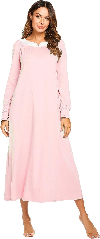 Ekouaer Nightgown for Women Long Sleeve Sleepwear Soft Victorian Lace Loungewear S-XXL