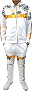 Men's Hipster Hip Hop Golden Floral Striped Print Fashion Tracksuit- Track Jacket and Pants (Sold Separately)