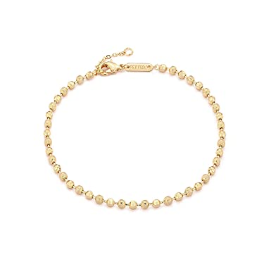 Fettero Women Gold Anklet Coin Bead Ball Bar Chain Dainty 14K Gold Plated Delicate Boho Beach Simple Minimalist Foot Jewelry