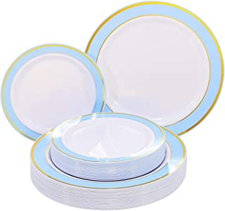 NERVURE 102 PCS Blue with Gold Rim Disposable Plates-Wedding and Party Plastic Plate Include 51PCS 10.25inch Dinner Plates and 51PCS 7.5inch Dessert/Salad Plates - Value Pack 102 Count(Blue)