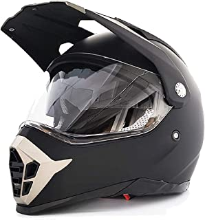 Motocross-Helm mit doppeltem Visier – ECE 22.05 geprüft, mattschwarz, ABS-Gehäuse, integrierte Sonnenblende, BMX, Quad Enduro MTB, Scooter matt, 2XL