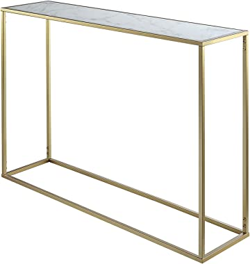 Convenience Concepts Gold Coast Faux Marble Console Table, Gold / Faux Marble