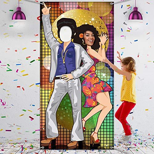 70 Jahre Tanzen Party Dekoration 70 Jahre Foto Tür Banner Hintergrund Requisiten, Große Foto Hintergrund für 70 Jahre Thema Party Dekor Disco Thema Party Lieferungen mit Seilen