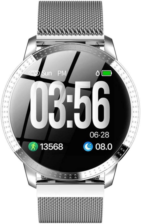 KLAYL Intelligente Uhr Intelligente Uhr 1,22 Zoll Smart Watch wasserdicht IP67 Blautdrucküberwachung Metall Starp Sport Modi SmartWatch