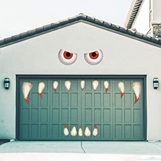 Rtudan Halloween Monster Face Decorations Outdoors Decor with Fake Teeth Outdoor Garage Door Archway Car Party Decor Balco...