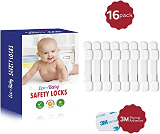 Child Safety Strap Locks (16 Pack) for Fridge, Cabinets, Drawers, Dishwasher, Toilet, 3M Adhesive No Drilling - by Eco-Baby