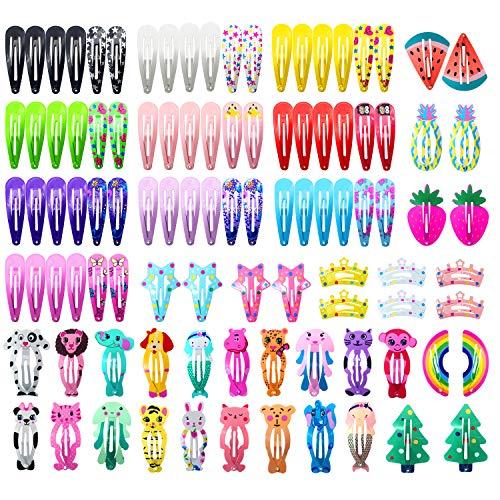 Hair Clips for Girls, Funtopia 100 Pcs No Slip Metal Snap Hair Clips Barrettes for Kids Teens Women, Cute Candy Color Cartoon Design Hair Pins (Animals Fruits Crowns Stars)