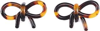 Tortoise Shell Hoop Earrings, Half Open Mottled Resin Lucite Acetate Stud Earring, Dark Brown
