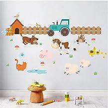 XYVXJ Wall Sticker Animales de granja perro valla pegatinas de pared para habitaciones de niños decoración del hogar cuarto de niños decoración mural póster calcomanías de pared