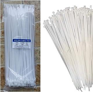 Kabelbinder, weiß, 250 mm x 4 mm (100 Stück), Kabelbinder, strapazierfähig, mit 18 kg Zugfestigkeit, selbstsichernde Nylon Kunststoff Drahtbinder für Büro, Haushalt und Outdoor