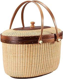 Picnic Basket Grocery Basket Picnic Basket with Lid and Handles Basket with Handle Large Basket (Color : Brown, Size : 30....