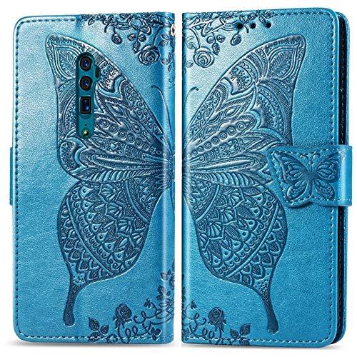 Fashion SHOP Hüllen & Cases Für Oppo Reno 10x Zoom Tasche, Butterfly Embossment Leder Schutzhülle mit Kartenfächern & Halter & Magnetverschluss Zubehör (Color : Blue)