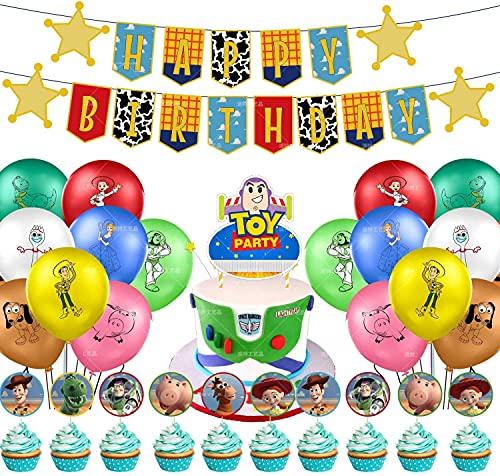 44 piezas de suministros de fiesta de juguete para fiestas de cumpleaños decoración de tartas, pancarta de cumpleaños de Toy Story Happy Birthday,Globos para bebés y niñas cumpleaños