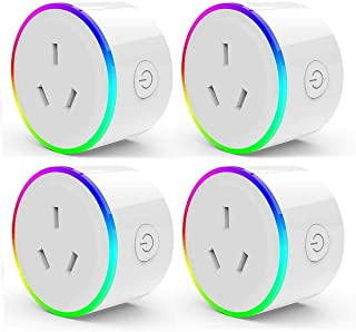 HomePro WIFI Smart Plug with RGB Light, Wireless Power Outlet Compatible with Amazon Alexa, Google Home Assistant and IFTT...