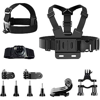 Anyingkai 11pcs Kit di Accessori per Action Camera,Fascia da Testa per Action Cam,Fascia da Testa per Cellulare,Imbracatura da Petto,Action Camera