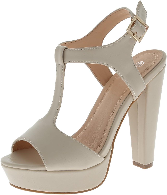 Cambridge Select Women's Open Toe T-Strap Buckled Ankle Strap Chunky Platform High Heel Sandal
