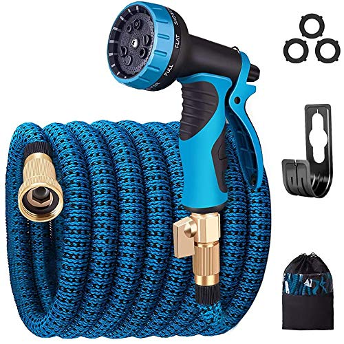monyar Garden Hose Expandable Water Hose,Extra Strenght/No-Kink Lightweight/Durable/Flexible/9 Function Spray Hose Nozzle 3/4 Solid Brass Connectors Garden Hose for Watering/Washing (30FT)
