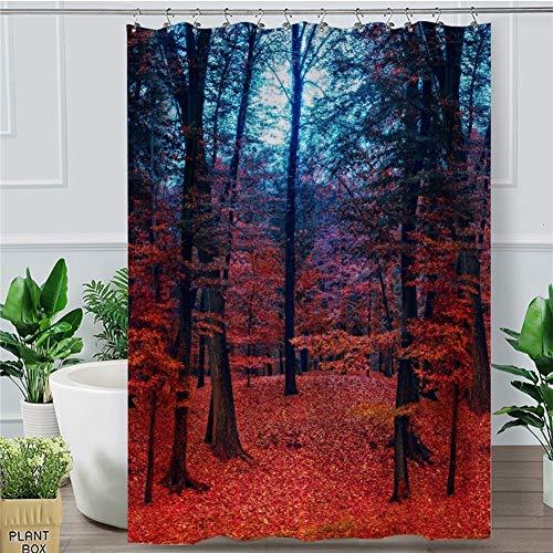 DHDHWL Duschvorhang Dusche Ahorn Vorhang Naturwald Blatt wasserdicht Badezimmer-Vorhang Herbst Home Decoration 180x180 (Size : 180x200cm)