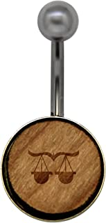 Libra Surgical Stainless Steel Belly Button Rings - Size 14 Gauge Wooden Navel Ring - Rustic Wood Navel Ring with Laser Engraved Design
