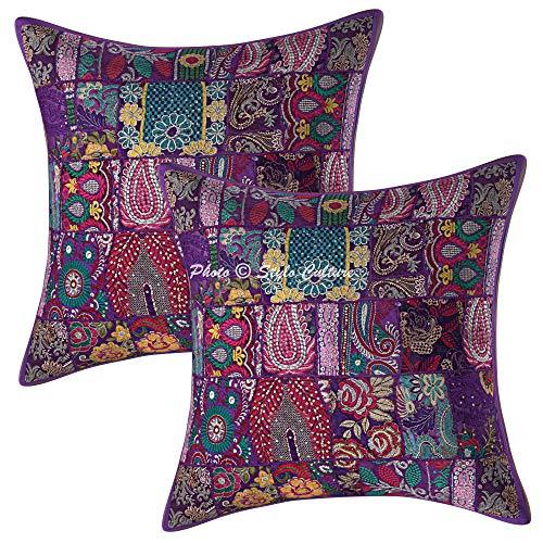Stylo Culture Étnico Algodón Bohemio Sofá Decorativo Silla Fundas de Cojines 60 x 60 Púrpura Cojines Decorativos para Cama 24 x 24 Cuadrado Tradicional Decoración del hogar (Conjunto De 2)